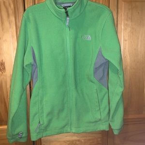 Girls 14/16 green zip up north face jacket